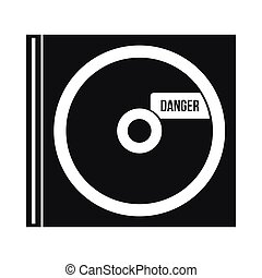 CD with danger lettering icon, simple style - CD with danger...