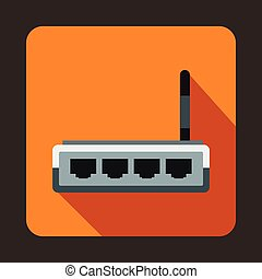 Router icon in flat style - icon in flat style on a orange...