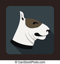 Bull terrier dog icon, flat style - Bull terrier dog icon in...