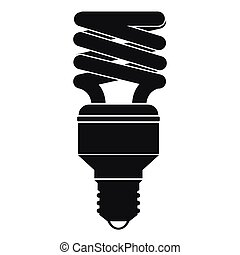 Energy saving bulb icon, simple style - Energy saving bulb...
