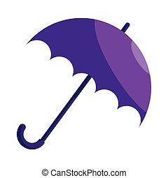 Violet umbrella icon, cartoon style
