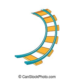 Roller coaster track icon in cartoon style