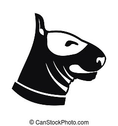 Bull terrier dog icon, simple style - Bull terrier dog icon...