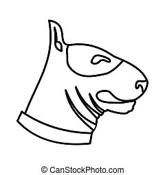 Bull terrier dog icon, outline style - Bull terrier dog icon...