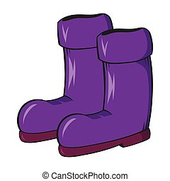 Rubber boots icon, cartoon style - Rubber boots icon in...
