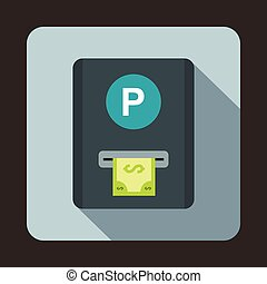 Parking fee icon, flat style