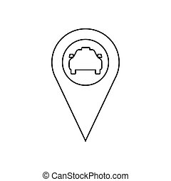 Geo taxi icon, outline style - Geo taxi icon in outline...