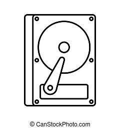 HDD icon, outline style - HDD icon in outline style isolated...