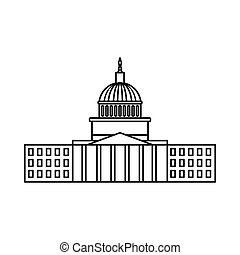 Capitol icon, outline style - Capitol icon in outline style...