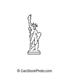 Statue of liberty icon, outline style - Statue of liberty...