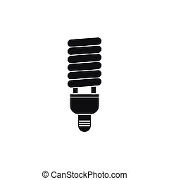 Fluorescent bulb icon, simple style - Fluorescent bulb icon...