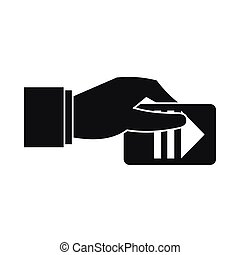 Hand with parking ticket icon, simple style - Hand with...