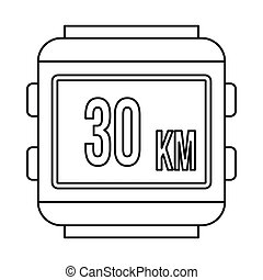 Speedometer bike icon, outline style - Speedometer bike icon...
