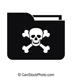 File folder with a skull icon, simple style