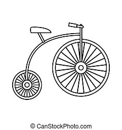 Penny-farthing icon, outline style - Penny-farthing icon in...