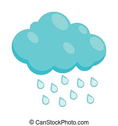 Cloud with rain drops icon, cartoon style