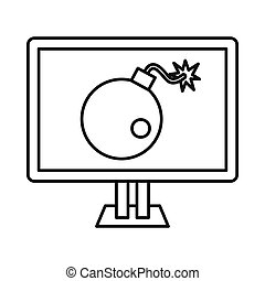 Bomb on computer monitor icon, outline style - Bomb on...