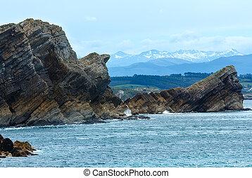 Ocean coastline landscape. - Atlantic Ocean rocky coastline...