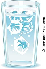 Glass of water with ice - Vector Illustration of Glass of...
