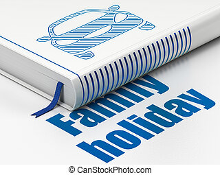 Tourism concept: book Car, Family Holiday on white...