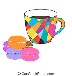 Mosaic  cup of coffee with colored macaroons