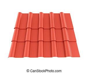 Roof tile isolated white background. 3D illustration