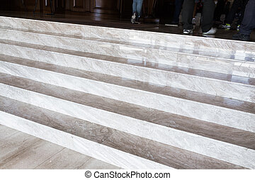 Close up on marble flight of stairs - Close up on marbled...