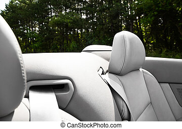 Detail of seat belt on a cabriolet or sports car