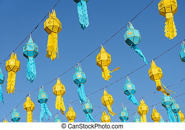 Lanna paper lantern in Thailand - Colorful Lanna paper...