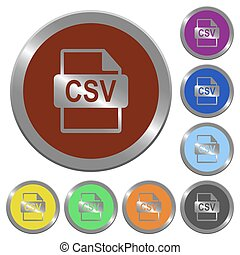 Color CSV file format buttons - Set of color glossy...