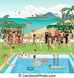 Party outdoor swimming pool on the beach in the tropics. Dj,...
