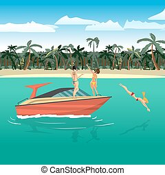 Women in bikini riding on a motorboat around a tropical beach. Girl in a red bathing suit dives into the water. Flat cartoon vector illustration. Boat is near the beach, girls sunbathe, make selfie