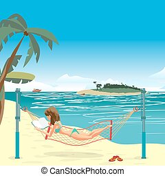 Woman dressed in green swimsuit lying in a hammock