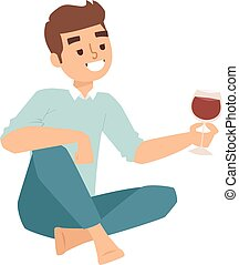boy glass wine vector illustration. - Relaxing man portrait...