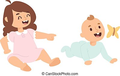 Baby kids vector illustration - Baby kids sunny cute...