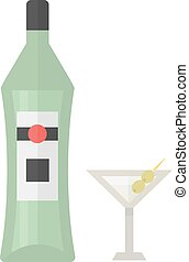 Martini bottle vector illustration. - Alcohol martini bottle...