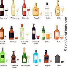 Set of different alcohol drink bottles - Alcohol drinks...
