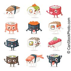 Sushi characters vector set. - Fun sushi characters and...