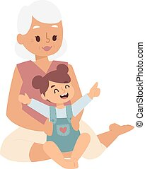 Granny and girl playing vector illustration. - Little girl...