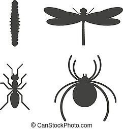 Insect icon black silhouette icons - Insect icons black...