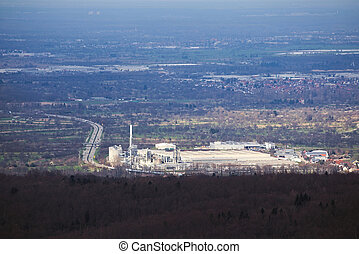 Factory plant besides Autobahn in Baden-Wurttemberg, Germany...