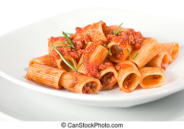 Italian Pasta and Sauce - Close Up Of Italian Pasta and...