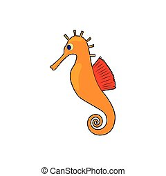 Seahorse, hippocampus icon in cartoon style on a white...
