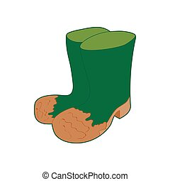 Dirty green rubber boots icon, cartoon style