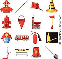 Fire Department icons set, cartoon style - Fire Department...