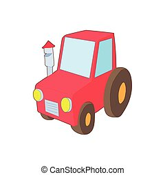 Red tractor icon in cartoon style - icon in cartoon style on...