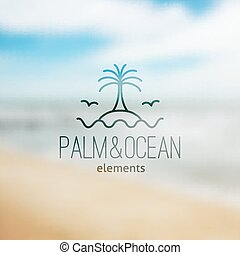 logo of palm on island and waves