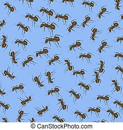Animal Pattern. Ant Isolated on Blue Background.