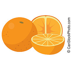 Three oranges: the whole fruit, cut lengthwise and sliced...