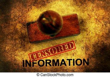 Censored information grunge concept